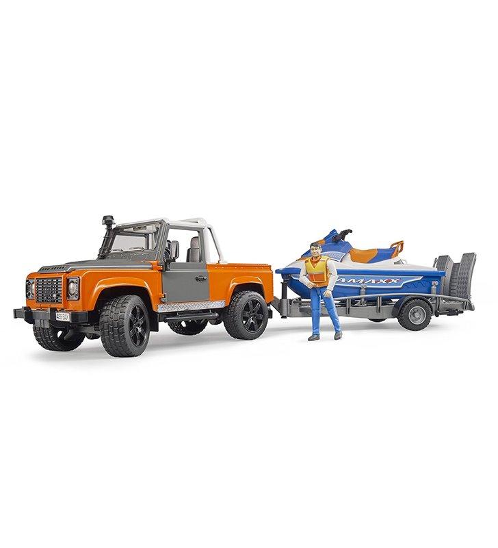 Land Rover z lawetą, skuterem i figurką Bruder 02599