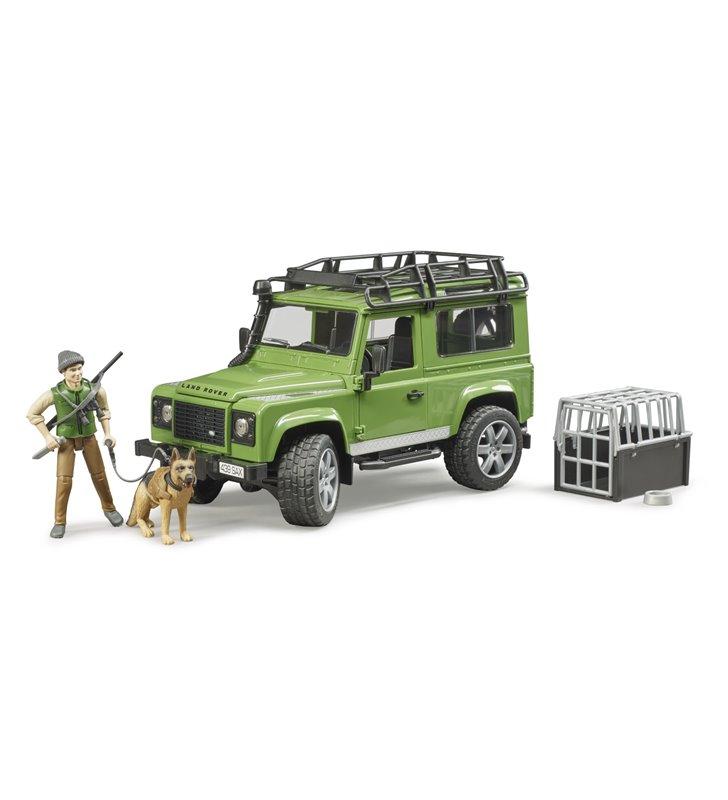 Land Rover Defender z figurką leśnika i z psem Bruder 02587