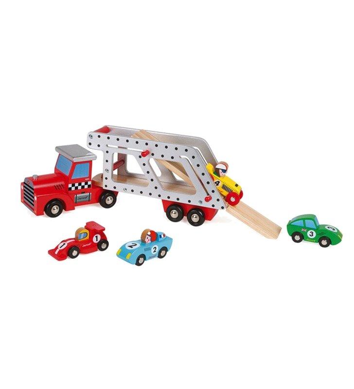 Laweta drewniana z 4 samochodzikami Janod 08572